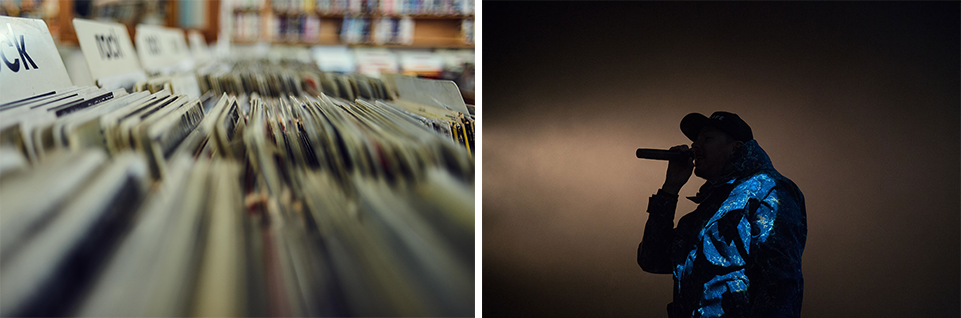 Record store shelf close up & male performer silhouette | Elise Franklin Therapy & Coaching | Entertainment Industry Counseling | Therapy for Artists, Performers, Actors, Musicians, Bands & Management | Los Angeles, CA 90064 | Los Angeles, CA 90017